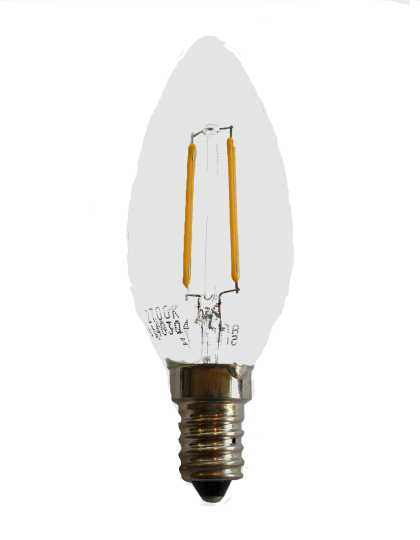 E14 LED Candle gloeidraad Transparant 2 Watt (kooldraadlamp)