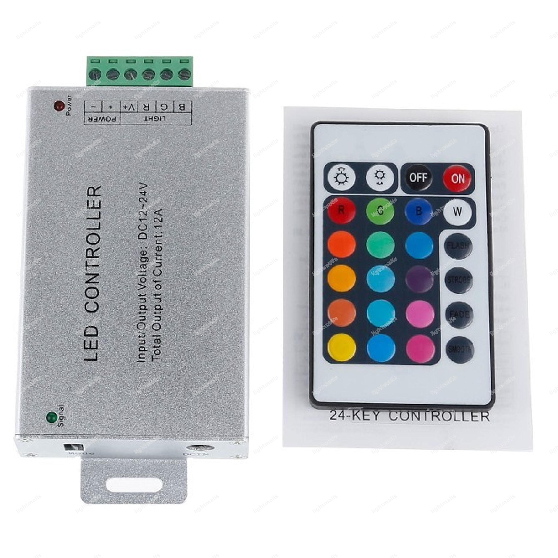 LED Strip Controller RGB met IR 24 KEY afstandsbediening 12-14V DC 24A